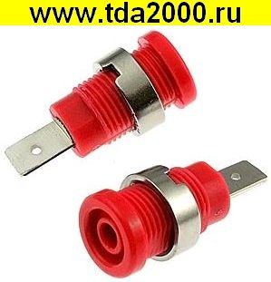 Разъём Банан Разъём Банан гнездо ZP017 4mm RED